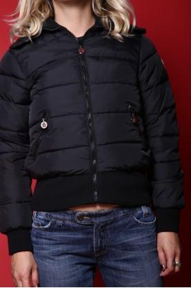 Moncler cappotto donna tessuto nylon tg M corto in vita nero