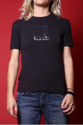 Armani jeans t-shirt donna tessuto cotone tg M slim fit manica corta blu scuro