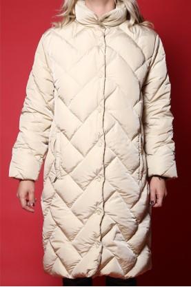 Moncler cappotto donna tessuto nylon tg L lungo trapuntato beige