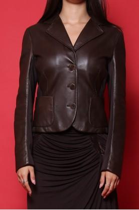 Max Mara giacca donna tessuto in pelle tg. 42 slim fit marrone