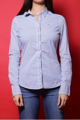 Tommy Hilfiger denim camicia donna tessuto cotone tg M slim fit a righe blu e bianco