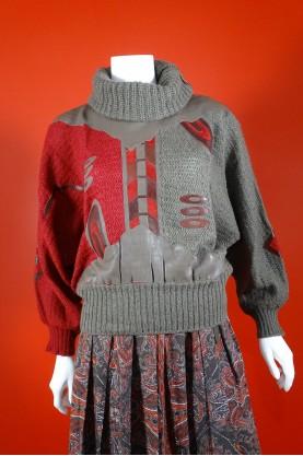 Vintage maglione donna tessuto lana tg 42 over size inserti in pelle marrone e rosso
