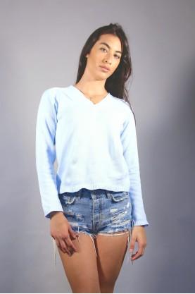 FRED PERRY maglia cotone donna azzurro tg 40 shirt cotton woman