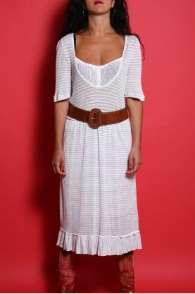 Moschino Abito donna tessuto cotone tg 46 righe bianco e beige