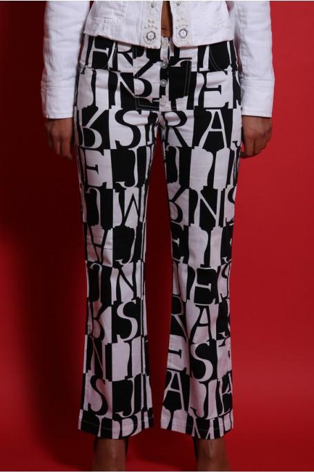 Armani Jeans Pantalone cotone estivo comfort fit zampa elefante elastico tg 40/42