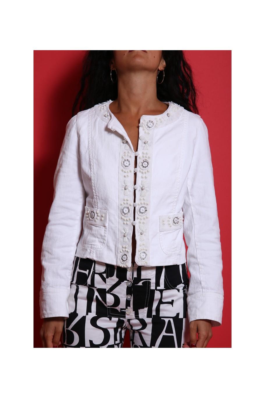 Max Mara giacca bianca cotone con ricami collo tondo tg 42