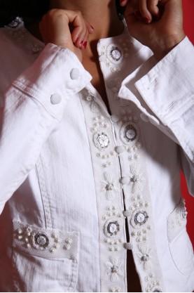 Max Mara giacca donna cotone taglia 42 ricami ricami gioiello regular