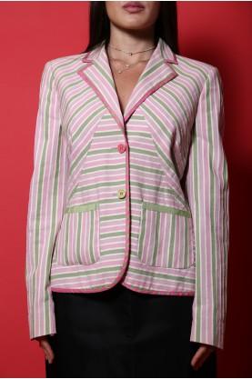 Etro giacca donna cotone taglia 44 rosa multicolor tasche bottoni regular