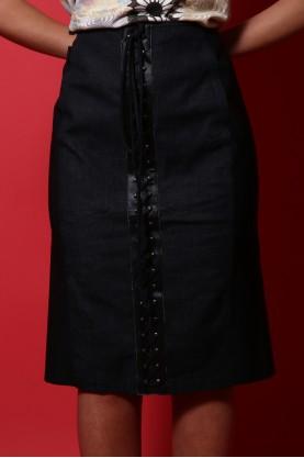 Moschino gonna donna con stringhe tessuto jeans tg 46 slim fit nero