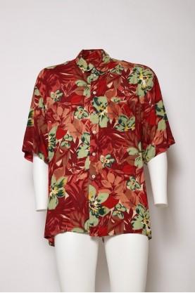 VINTAGE camicia uomo marrone  '90  tg44 cotone manica corta fiori