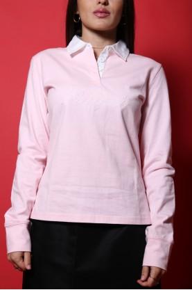 Tommy Hilfiger t-shirt donna tessuto cotone tg 42/44 manica lunga rosa