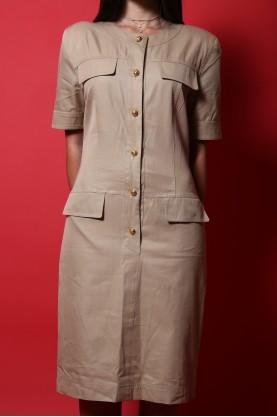 Salvatore Ferragamo abito donna cotone taglia 42 bottone gioiello  beige