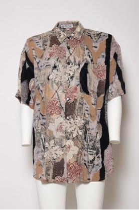 VINTAGE camicia uomo '90 foglie style tgXL size 48  cotone shirt manica corta