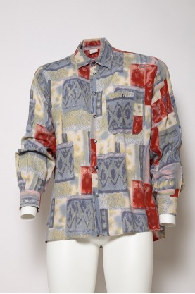 VINTAGE camicia uomo quadri colorati astratta M-42/44 manica lunga '90