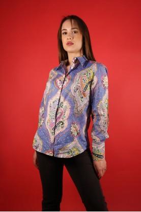 Vintage Camicia Donna Cotone Taglia 40 Multicolor Manica Lunga