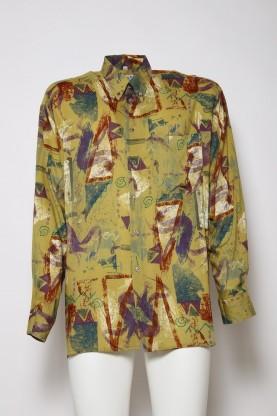 VINTAGE camicia uomo colore giallo ocra astratta tgL manica corta'90