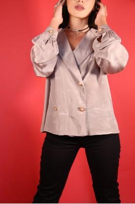 vintage camicia donna sartoriale tessuto seta valentino tg m overg size colore tortora