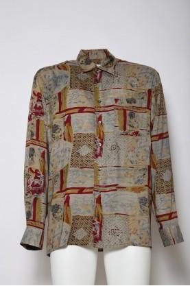 VINTAGE camicia uomo '90 fantasia tg XL size 44  cotone shirt manica lunga