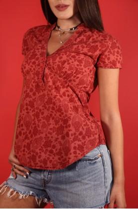 Levi's Camicia Donna Cotone Taglia Xs Manica Corta Scollo V Fantasia Rosso Bordeaux