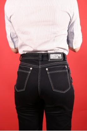 Versace jeans donna  tessuto cotone tg 44 vita alta slim fit nero