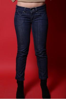 Vintage Pantalone Donna Cotone Taglia 40 Blu Jeans Slim Fit Aderente Elasticizzato