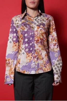 Etro milano camicia donna tessuto cotone tg 44 regular manica lunga multicolor floreale