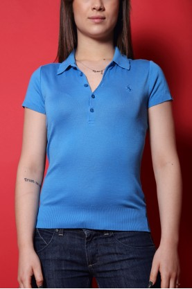 Ralph Lauren Maglia Donna Filo Taglia Xs Polo Manica Corta Blu Liscia