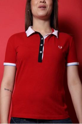 Fred Perry t-shirt polo donna tessuto cotone tg XL slim fit rosso