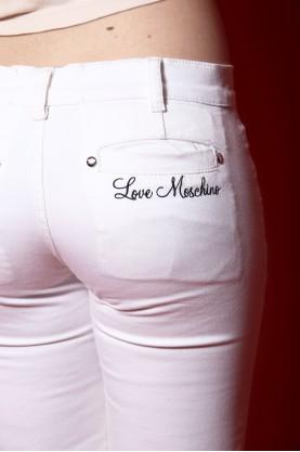 Moschino jeans donna tessuto cotone tg 40 slim fit bianco
