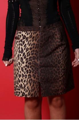 Moschino gonna donna lana cotone taglia 40 slim animalier longuette