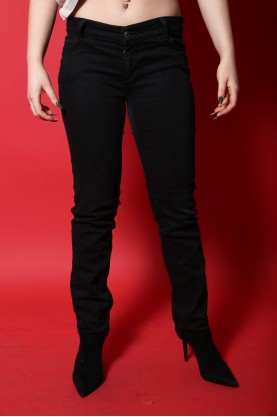 Gucci jeans donna tessuto cotone tg 40 slim fit nero