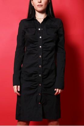 Patrizia Pepe abito donna cotone taglia 44 regular nero lungo jacket bottoni