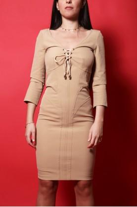 Elisabetta Franchi abito donna tessuto poliestere tg 44 slim fit colore nude
