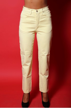 versace jeans pantalone donna vita alta tg 46  regular vintage giallo pastello