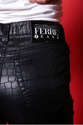 Gianfranco Ferre Pantalone Donna Eco Pelle Taglia 43 Nero Slim Elasticizzato
