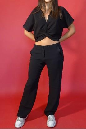 Emporio Armani Pantalone Donna Viscosa Taglia 42 Regular Nero Pant Misto Cotone