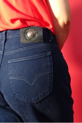 Versace jeans couture jeans donna tessuto cotone tg 48 regular vita alta blu scuro