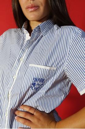 Moschino camicia donna cotone taglia S righe bianco blu manica corta chemise