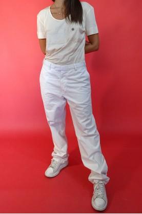 Vintage Pantalone Donna Cotone Taglia 46 Regular Vita Alta Bianco Classic
