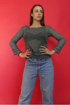 Moschino maglia donna lana taglia 42 grigia sottile leggera trasparente casual