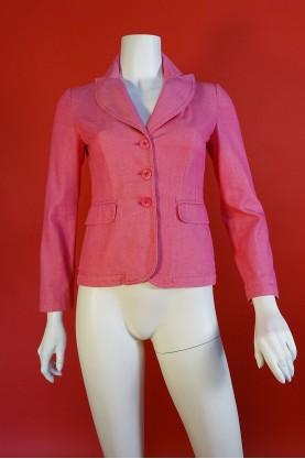 Moschino giacca donna cotone taglia 42 rosa 3 bottoni corta casual
