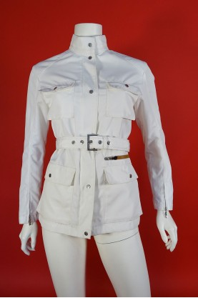 Moncler giacca trench donna tessuto poliestere tg M bianco
