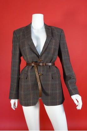 Etro giacca donna lana taglia 48 blazer scozzese marrone blazer classic england