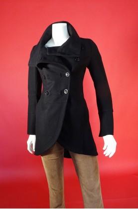 Patrizia Pepe giacca donna lana Taglia 40  nero doppio petto bottoni cappotto