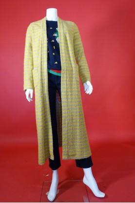 Mille968 Cardigan donna lana Taglia L maglia lunga giallo grigio righe pullover