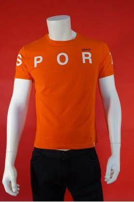 Versace Shirt Uomo Cotone Taglia L Underwear Maglia Arancio Manica Corta