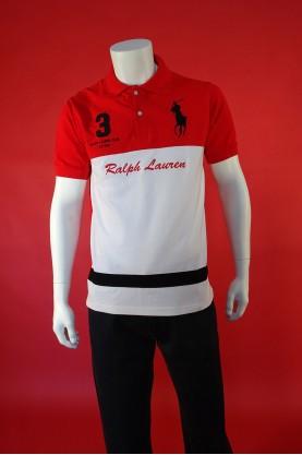 Ralph Lauren Maglia Uomo Taglia M Rosso Bianco Polo Manica Corta Ricami Logo
