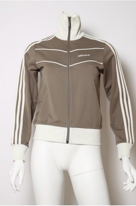ADIDAS vintage maglia donna con zip tg 40 beige jacket woman Original gym