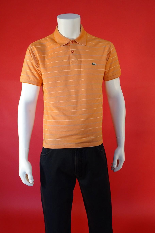 Lacoste maglia uomo cotone taglia 4 M slim righe arancione manica corta polo