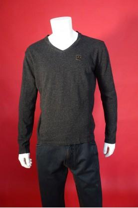 Armani jeans maglia uomo lana taglia xl slim scollo v shirt grigio
